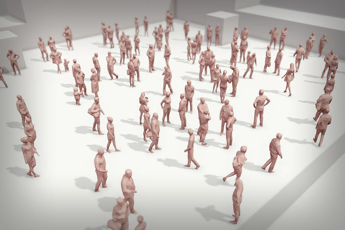 lowpoly people crowd 3d model low-poly max obj mtl 3ds fbx 1