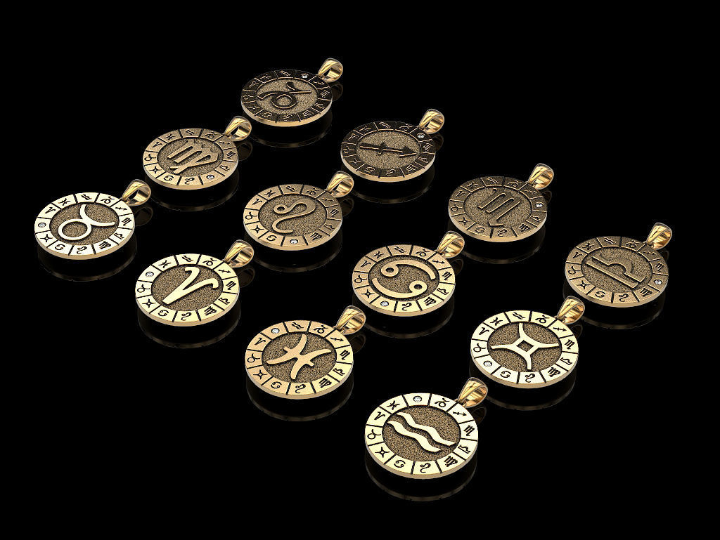 12 Zodiac Signs Horoscope Charm Pendant