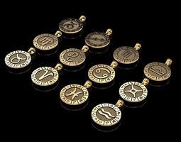 3D printable model 12 Zodiac Signs Horoscope Charm Pendant
