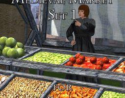 3D asset Medieval Market 1 for Poser