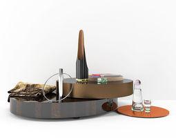 3D Postmodern Tea Table and Furnishings