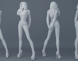 Sexy girl wearing leather 003 3D print model