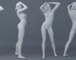 Pretty girl wearing swimsuit 002 3D printable model