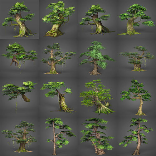 game ready low poly tree collection 3d model low-poly max obj mtl fbx c4d ma mb 1