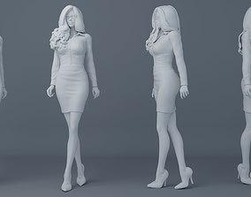 3D print model Office girl wearing uniforms 002