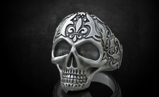 Ring skull with patterns stylish 213