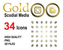 low-poly Gold Social Media Icons 3D