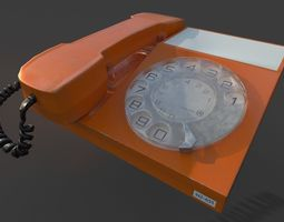 Vintage rotary dial telephone 3D asset