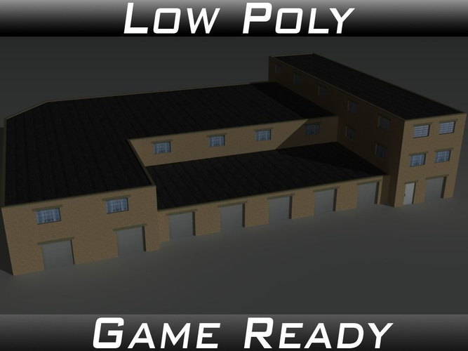 factory building 35 3d model low-poly obj mtl 3ds fbx 1