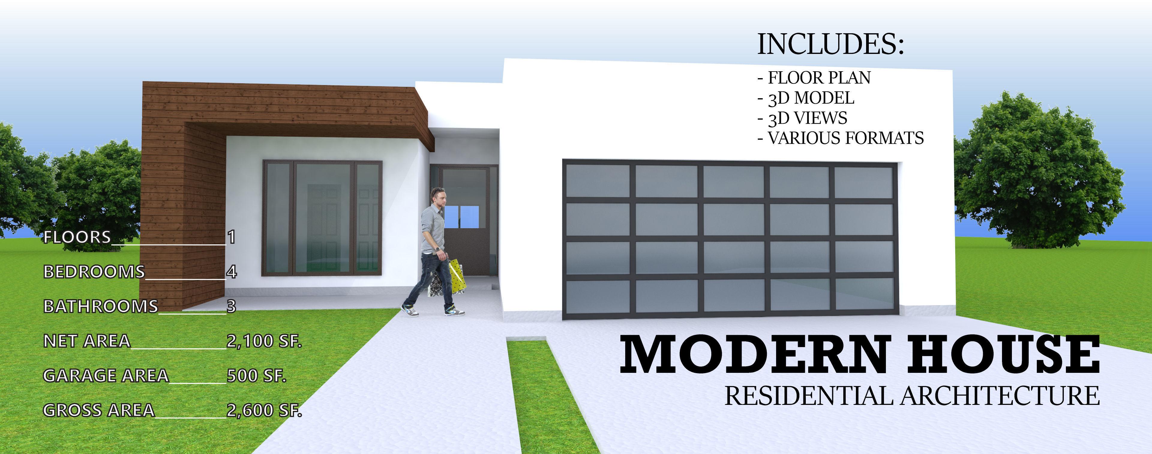 modern residential house 1 story 4 bedroom 3 car garage 3d model obj 3ds 3dm - House 1 Story