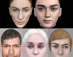 3D Game of Thrones pack Daenerys Cersei Arya Jamie Sansa