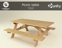 3D model VR / AR ready picnic table
