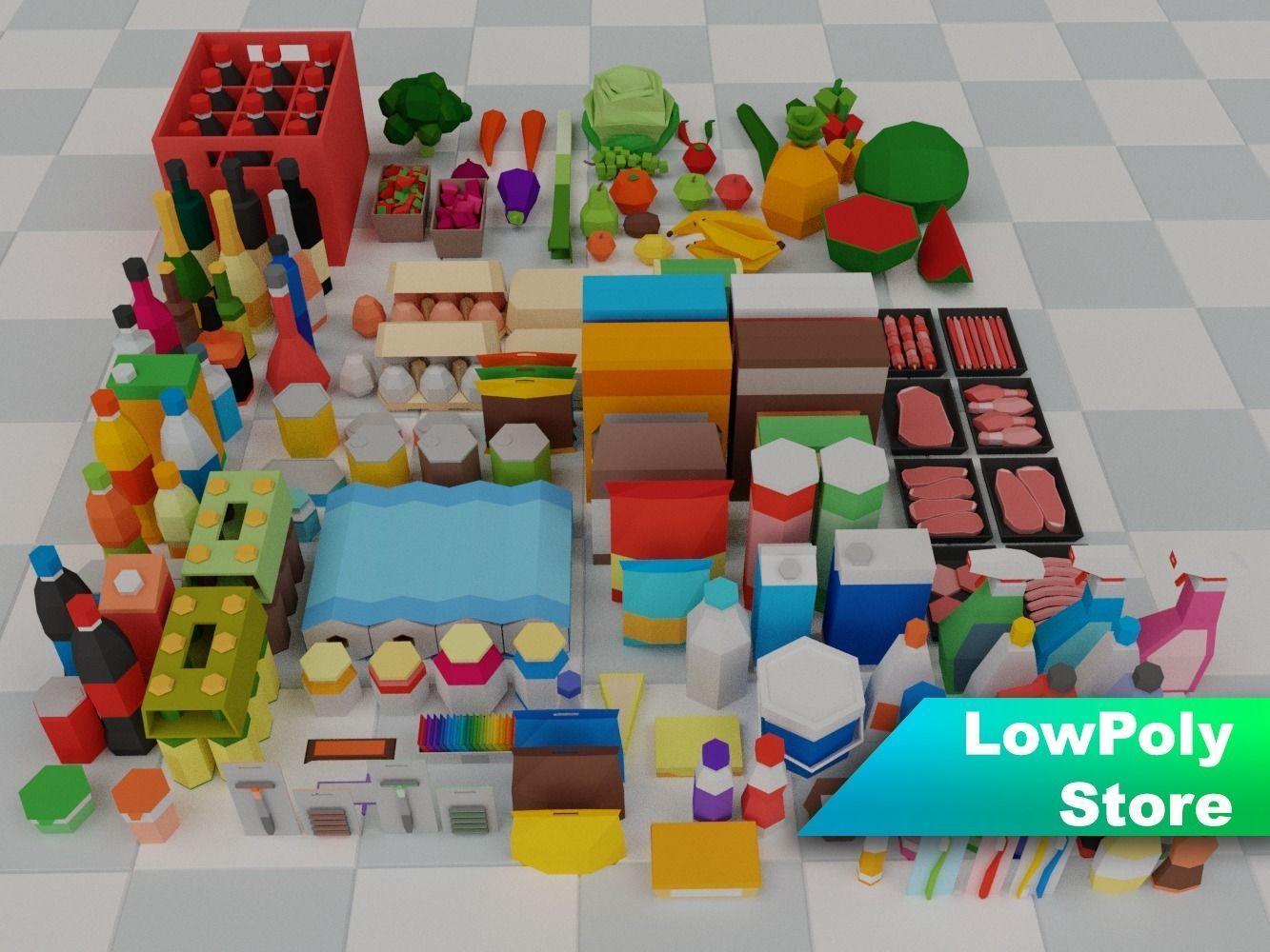 Low Poly Supermarket Set