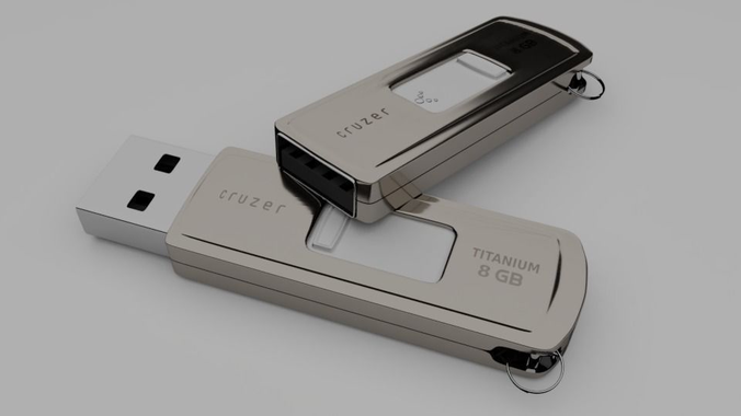 usb pen drive 3d model rigged obj mtl 3ds fbx blend dae 1