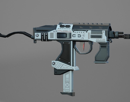 3D asset rigged game-ready SubMachine Gun