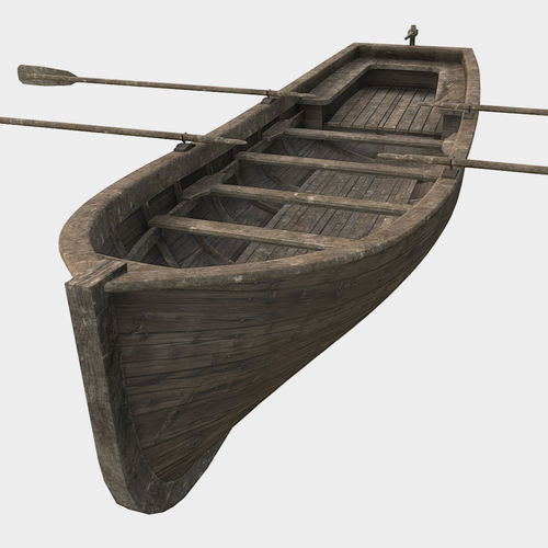low poly pbr row boat 3d model fbx ma mb 1