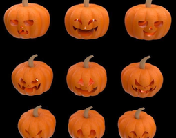 9 decorative pumpkins for Halloween season 3d