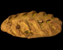 3D model VR / AR ready Wallnut Bread - PBR