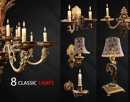3D asset 8 Classic Lamps Unreal 4 - UE4 Unreal Engine