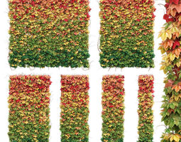Wall from autumn leaves Set of 6 models realtime