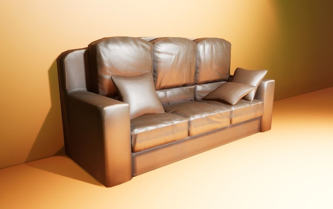 leather couch with pillow 3d model fbx blend 1