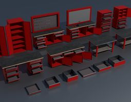 3D model Workshop PBR closets benches boxes and