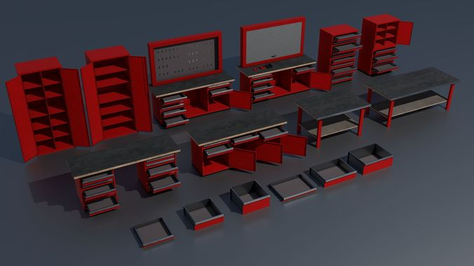 workshop pbr closets benches boxes and tables 3d model obj mtl 3ds fbx stl blend dae 1