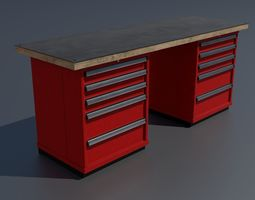 3D model Workshop workbench 1 PBR