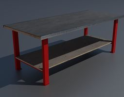 Workshop worktable large PBR 3D