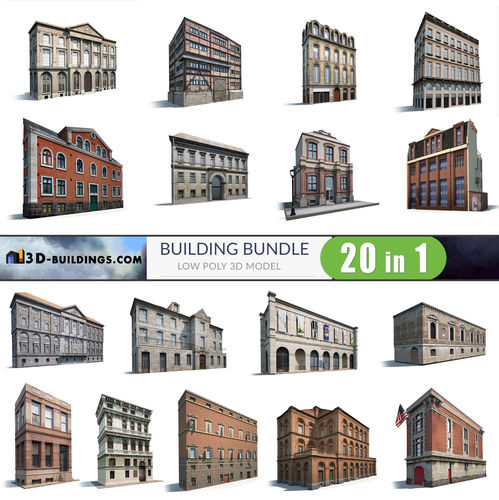 building facades bundle2 3d model low-poly max obj mtl 3ds fbx 1