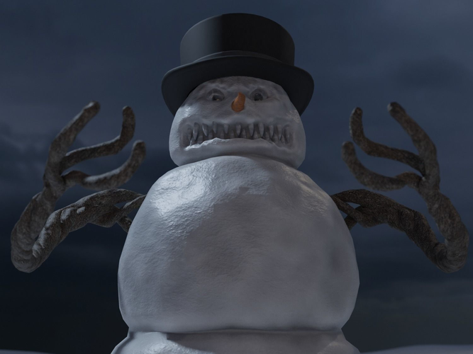 bad scary snowman 3d model cgtrader