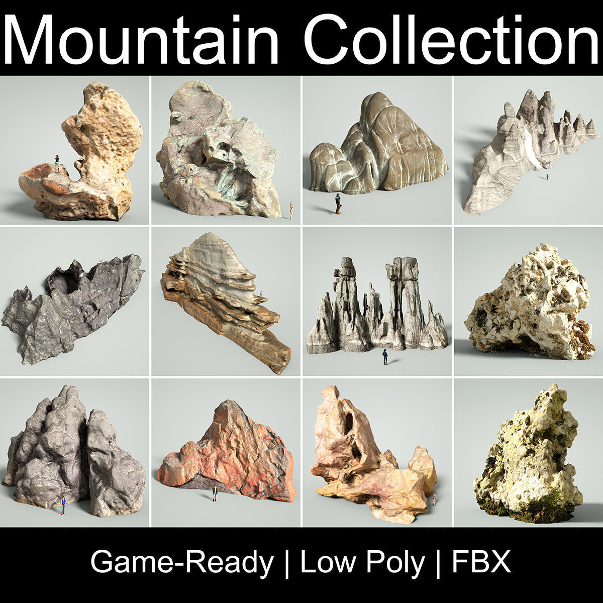 Mountain Collection Realistic Rocks 12 tems