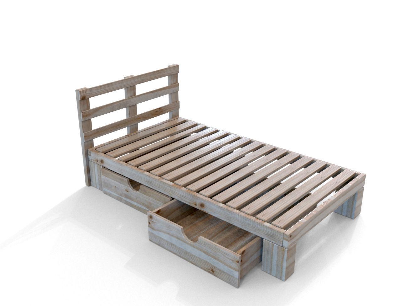 ... Simple Wooden Bed 3d Model Max Obj 3ds Fbx Mtl Unitypackage 2 ...