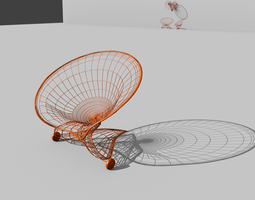 furniture flower wire mobile armchair 3D
