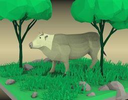 low poly cow diorama 3D asset