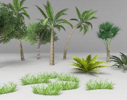 Tree plant gras set 3D asset