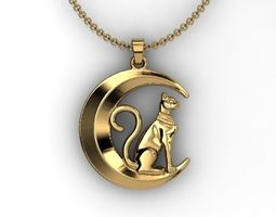 Moon Cat pendant 3D Bohemian