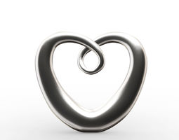 Modern Chrome Heart Decoration 3D
