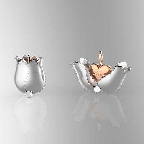 lovely tulip heart locket 3d model stl 1