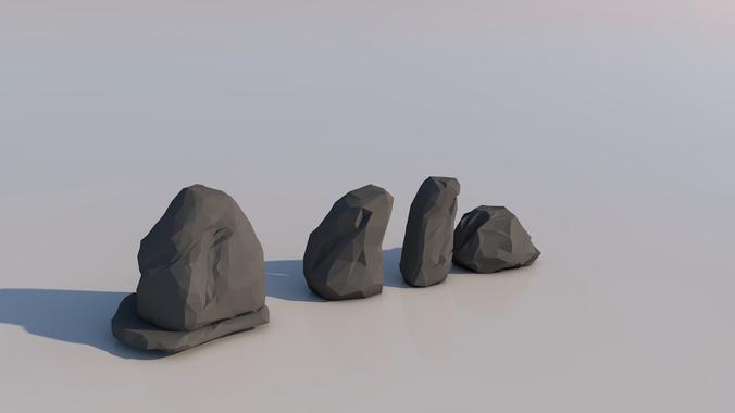 low poly rocks 3d model obj mtl 1