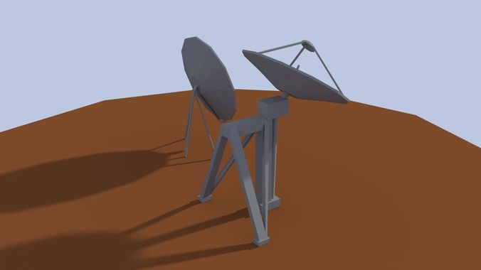 low poly antenna dish 3d model low-poly obj mtl 3ds fbx blend dae 1