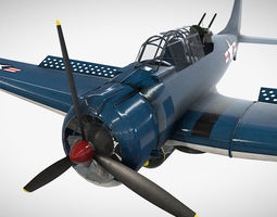 Low Poly PBR Game Ready Douglas SBD Dauntless 3D asset