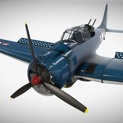 low poly pbr game ready douglas sbd dauntless 3d model fbx ma mb 1