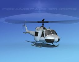 3D model Bell UH-1B Iroquois Bare Metal