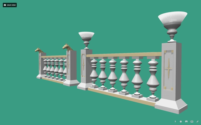 architectural balustrade - palace decor baroque-1 3d model low-poly fbx 1