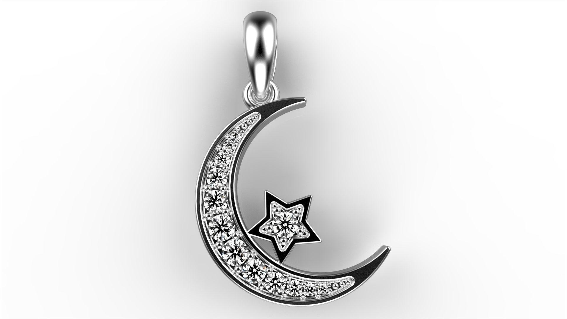 Moon star pendant 3d printable model cgtrader moon star pendant 3d model stl 3dm 1 aloadofball Images