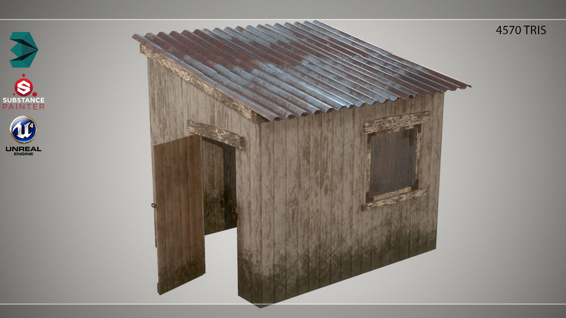 Low Poly Small Wooden Cabin Shed PBR