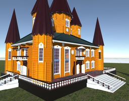 Russian wooden house in Siberian village -1 Terem for 3D