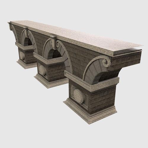 low poly pbr modular stone bridge 3d model fbx ma mb 1