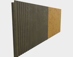 Low Poly PBR Modular Corrugated Fence 3D model